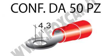 Terminali ad occhiello presisolati per viti da 4 mm e cavi da 0,25 a 1 mm², ricoperti   in plastica di colore rosso