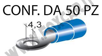 Terminali ad occhiello presisolati per viti da 4 mm e cavi da 1 a 2,5 mm²