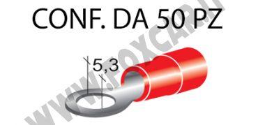 Terminali ad occhiello presisolati per viti da 5 mm e cavi da 0,25 a 1 mm², ricoperti   in plastica di colore rosso