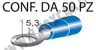 Terminali ad occhiello presisolati per viti da 5 mm e cavi da 1 a 2,5 mm², ricoperti   in plastica di colore blu
