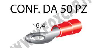 Terminali ad occhiello presisolati per viti da6 mm e cavi da 0,25 a 1 mm², ricoperti   in plastica di colore rosso