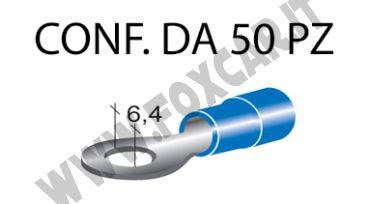 Terminali ad occhiello presisolati per viti da 6 mm e cavi da 1 a 2,5 mm², ricoperti   in plastica di colore blu