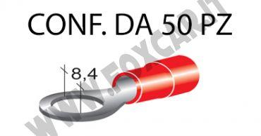 Terminali ad occhiello presisolati per viti da 8 mm e cavi da 0,25 a 1 mm², ricoperti   in plastica di colore rosso