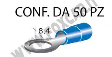 Terminali ad occhiello presisolati per viti da 8 mm e cavi da 1 a 2,5 mm², ricoperti   in plastica di colore blu