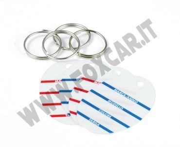 Cartellino porta chiavi identificativo scrivibile con anello