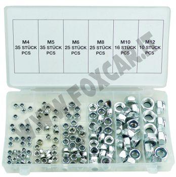 Kit di 146 dadi esagonali autobloccanti zincati per viti da M4, M5, M6, M8, M10   e M12