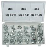 Kit di 75 dadi con alette per viti e prigionieri M5, M6, M8 in acciaio...
