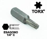 Chiavi a inserto con impronta TORX 6, esagono 1/4, lunghezza totale 25...