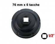 Chiave a tazza per filtri olio 76 mm x 6 tacche