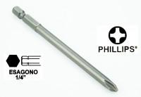"""Chiave a inserto a croce PH2 esagono da 1/4"""", lunghezza 100 mm"""