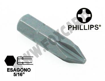 """Chiave a inserto a croce PH2, esagono da 5/16"""" lunghezza 32 mm"""