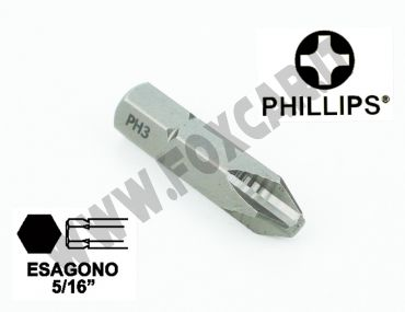 """Chiave a inserto a croce PH3, esagono da 5/16"""" lunghezza 32 mm"""