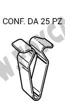 Graffa in acciaio grigio altezza 22 mm e larghezza 9 mm