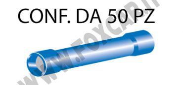Connettori preisolati cilindrici per cavi con sezione da 1 a 2,5 mm², ricoperti   in plastica di colore blu